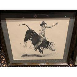 Framed Limited Edition Western Sketch - Bull Rider