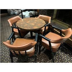Lot of - Round bar table with 4 heavy vinylarm chairs