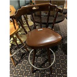 Lot of 10 - Wood upholstered swivel bar stools