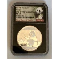 China Panda 1 Ounce Silver Bullion Round Graded