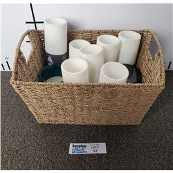 Lot of Battery Powered Candles and some Used Real Candles in a Wicker Basket.