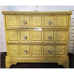 Yellow 3 Drawer Wooden Dresser