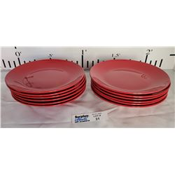 Lot of 12 Red Christmas Plates