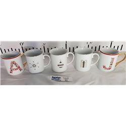 Lot of 5 Christmas Mugs
