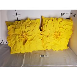 Lot of 2 Yellow Sunflower Throw Pillows