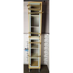 Wooden Shelving Unit with Glass Doors.