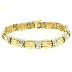 14K Two Tone Gold 1.35 ctw Round Diamond Textured X O Oval Link Tennis Bracelet