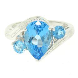 14k White Gold 4.33 ctw Pear & Round Swiss Blue Topaz Ring w/ 2 Diamond Accents