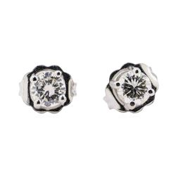 0.40 ctw Diamond Stud Earrings - 14KT White Gold