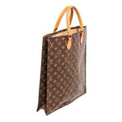 Louis Vuitton Monogram Canvas Leather Sac Plat Tote Bag