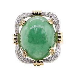 22.19 ctw Jadeite and Diamond Ring - 14KT Yellow Gold