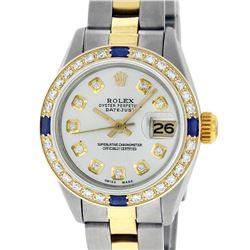 Rolex Ladies 2 Tone 18K Gold Bezel Silver Diamond & Sapphire Datejust Wriswatch