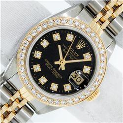 Rolex Ladies 2 Tone Black Diamond Bezel & 1 ctw 18K Yellow Gold Bezel Datejust W