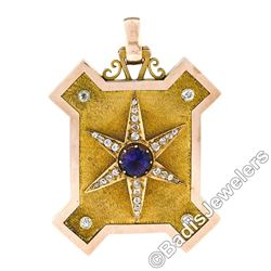 Victorian 15kt Gold 4.40 ctw Amethyst and Diamond Large Uniquely Shaped Locket P
