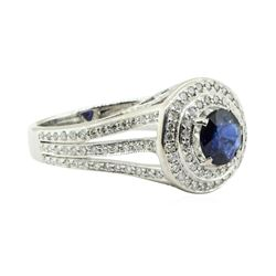 2.50 ctw Round Brilliant Blue Sapphire And Diamond Ring - 18KT White Gold