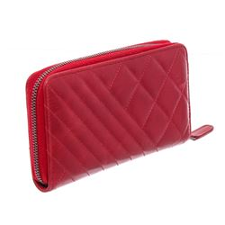 Chanel Red Quilted Leather Coco Boy Zip-Around Wallet