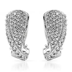 14k White Gold 1.00 ctw Diamond Earrings, (I1-I2/G-H)