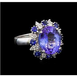 14KT White Gold 6.56 ctw Tanzanite, Sapphire and Diamond Ring
