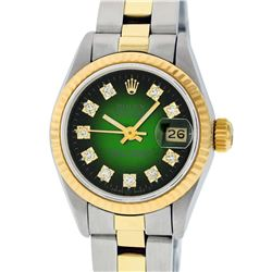 Rolex Ladies 2 Tone Green Vignette Diamond 26MM Datejust Wristwatch