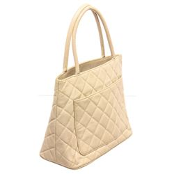 Chanel Cream Caviar Leather Reissue Medallion Tote