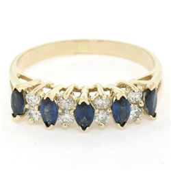14kt Yellow Gold 0.98 ctw Sapphire and Diamond Band Ring