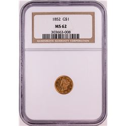 1852 T-1 $1 Gold Dollar Coin NGC MS62