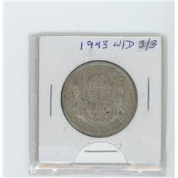 1943 silver fifty cent coin- wide date, 3/3
