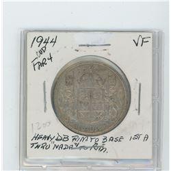 1944 silver fifty cent coin- far  4 , die breaks