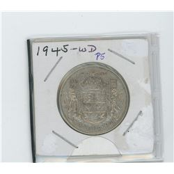 1945 silver fifty cent coin- wide date, pointed five