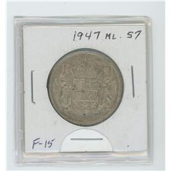 1947 ML silver fifty cent coin- stright  7