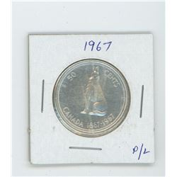 1967 silver fifty cent coin- proof like
