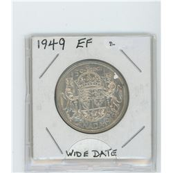 1949 silver fifty cent coin-wide date- EF