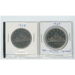 1968 nickel dollar, 1969 nickel dollar with double legend on obverse