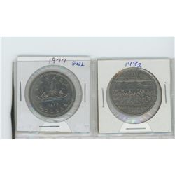 1977 short water lines, attched jewels- 1867-1982 confederation dollars