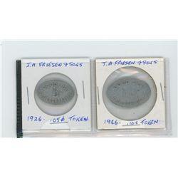 1926 J.A friesen & sons , haigh, sask- 5& 10 cent merchandise tokens