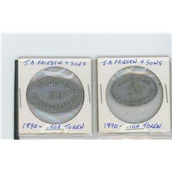 1890 J.A friesen & sons, haigh, sask - 10 & 50 cent merchandise tokens