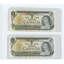 SET OF TWO- 1973 bank of canada dollar bills, CH UNC in sequence