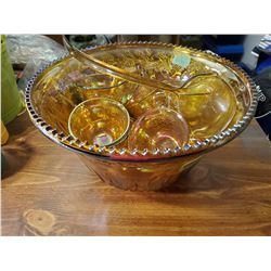IRIDESCENT CARNIVAL GLASS PUNCH BOWL W/ 12 CUPS & LADLE