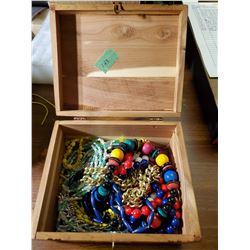 CEDAR JEWELRY BOX W/ JEWELRY
