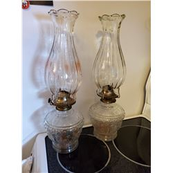 """SET OF 2 GLASS COAL OIL LAMPS (HEAVY GLASS CHIMNEYS) 17"""" TALL"""