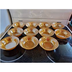 11 FIRE KING PEACH LUSTREWARE FRUIT NAPPIES