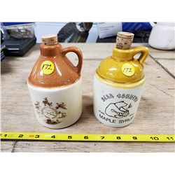 2 SMALL CROCK JUGS, 3 HILL ALBERTA & BEAR COUNTRY MAPLE SYRUP