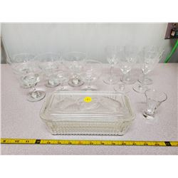 Pyrex Fridge Dish & Wine Glasses