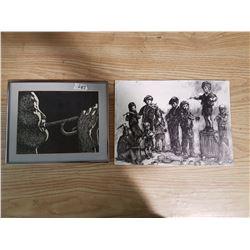 2 Black & Whit Prints - One Framed