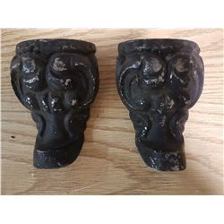 2 Antique Stove Legs & Heavy Brass Handle