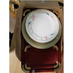 Box of Old Dishes, Cups, Trays Etc.