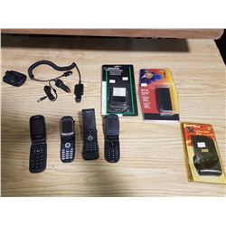 4 Old Flip Phones C/W Cases, Chargers & New Batteries