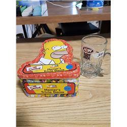 Homer Simpson Tin (Empty) & Old A&W Mug