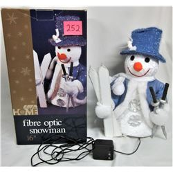"VINTAGE ""FIBER OPTICS"" 16"" SNOWMAN/ SKIS BOXED"