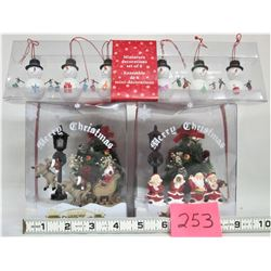 "Pair of Battery Operated ""Merry Xmas"" Ornaments, plus set of 6 new Snowmen ornaments"